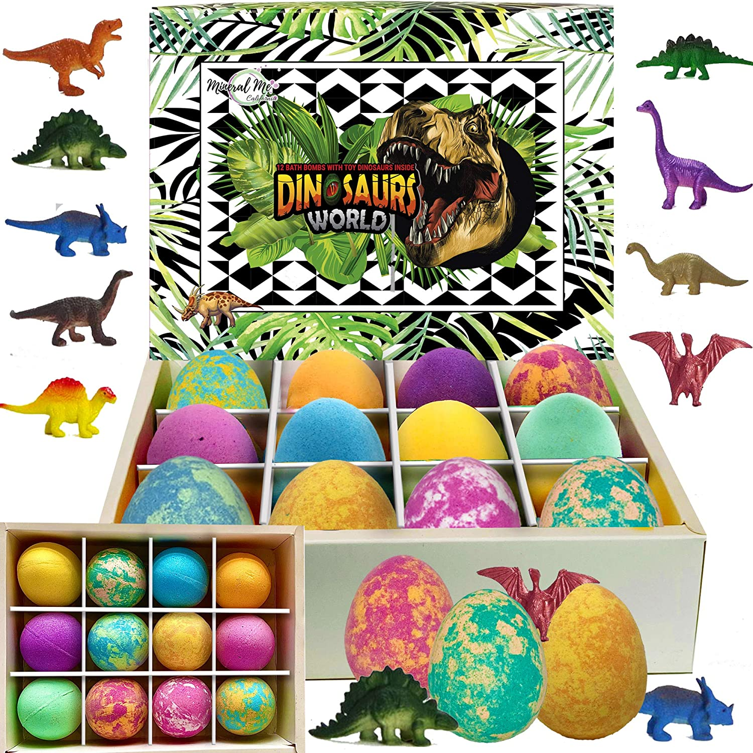 Bath Bombs for Kids with Toys Inside - Set of 12 Colorful Egg Bath Fizzies with Dinosaur Surprise. Gentle and Kids Safe Spa Bath Fizz Balls Kit. Birthday or Easter Gift for Girls and Boys: Health & Personal Care