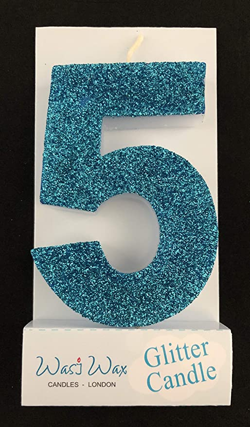 New Glitz Candle Number Shaped Age 13-Age 100 Blue Glitter Candle Birthday Cake