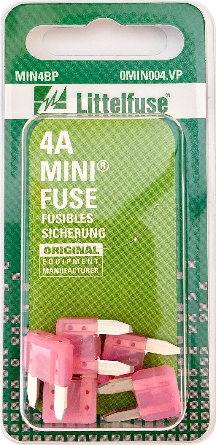 Pack of 5 Littelfuse 0MIN004.VP MINI 32 Volt 4 Amp Carded Blade Fuse,