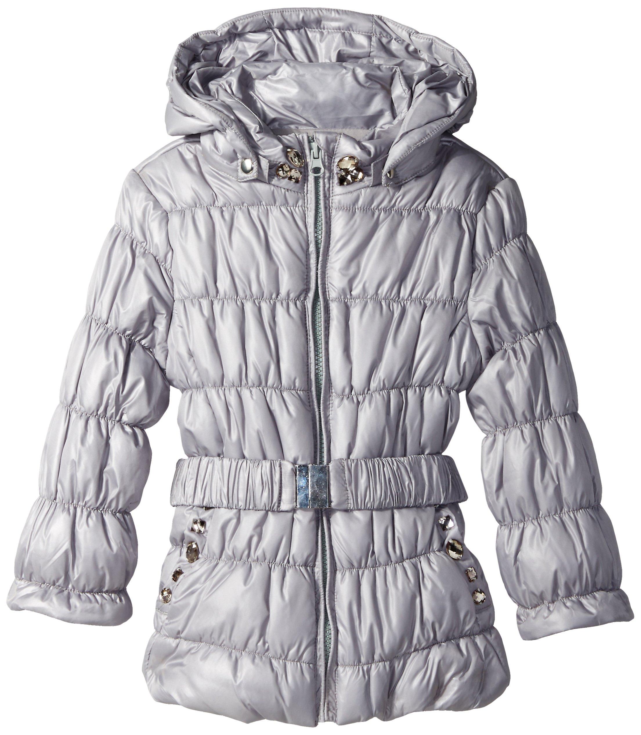 Kate Mack Little Girls' Puffer Coat with Belt and Rhinestones, Grey, 6