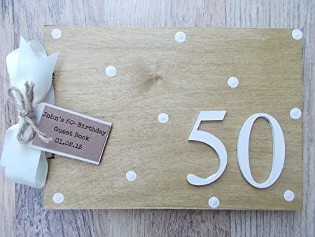 Personalised 50th Birthday Wooden Scrapbookphoto Book Memories