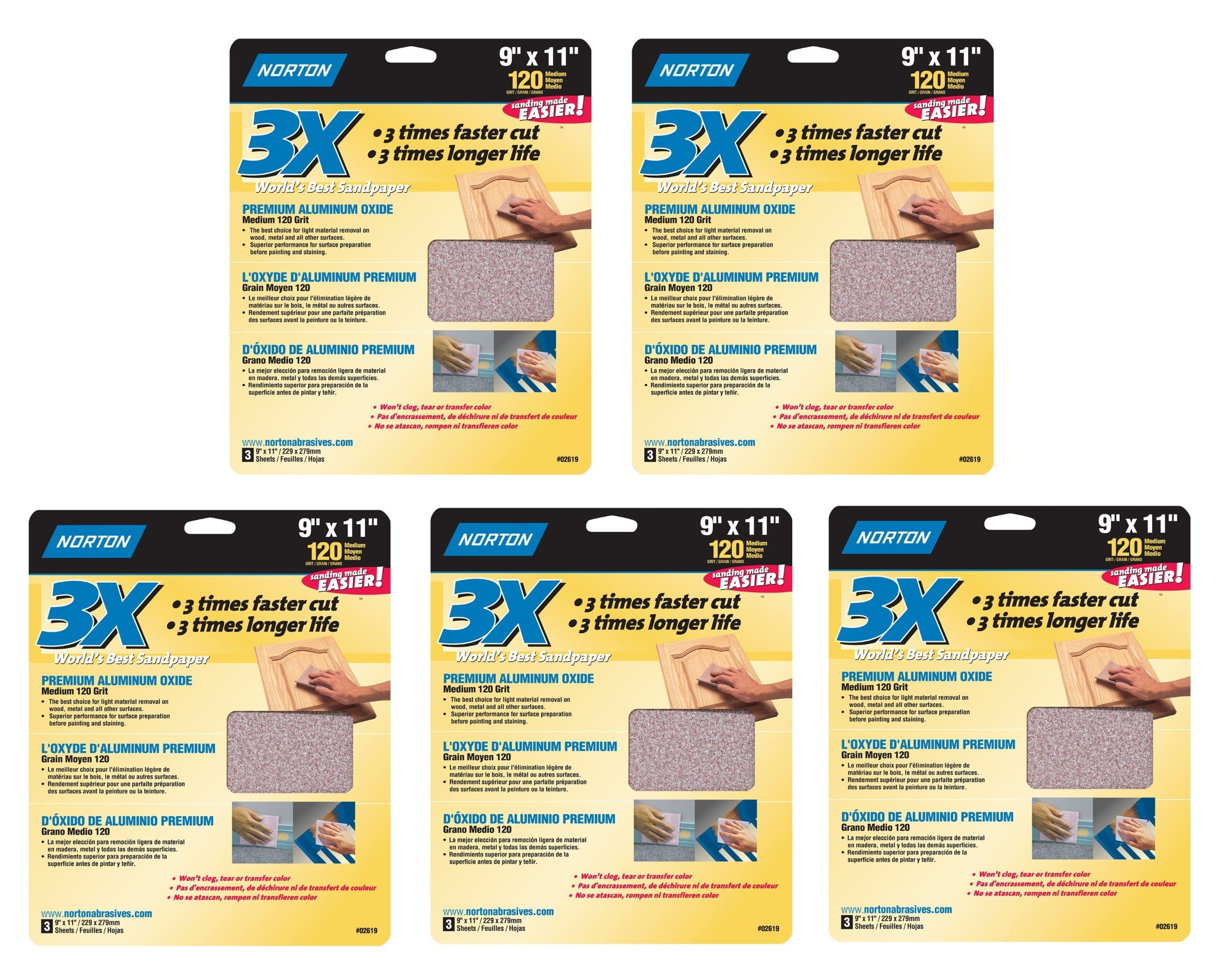 Norton 02619 3X Handy Aluminum-Oxide Sandpaper 120 Grit, 9-Inch x 11-Inch, 15 Sheets Total (5 Pack)