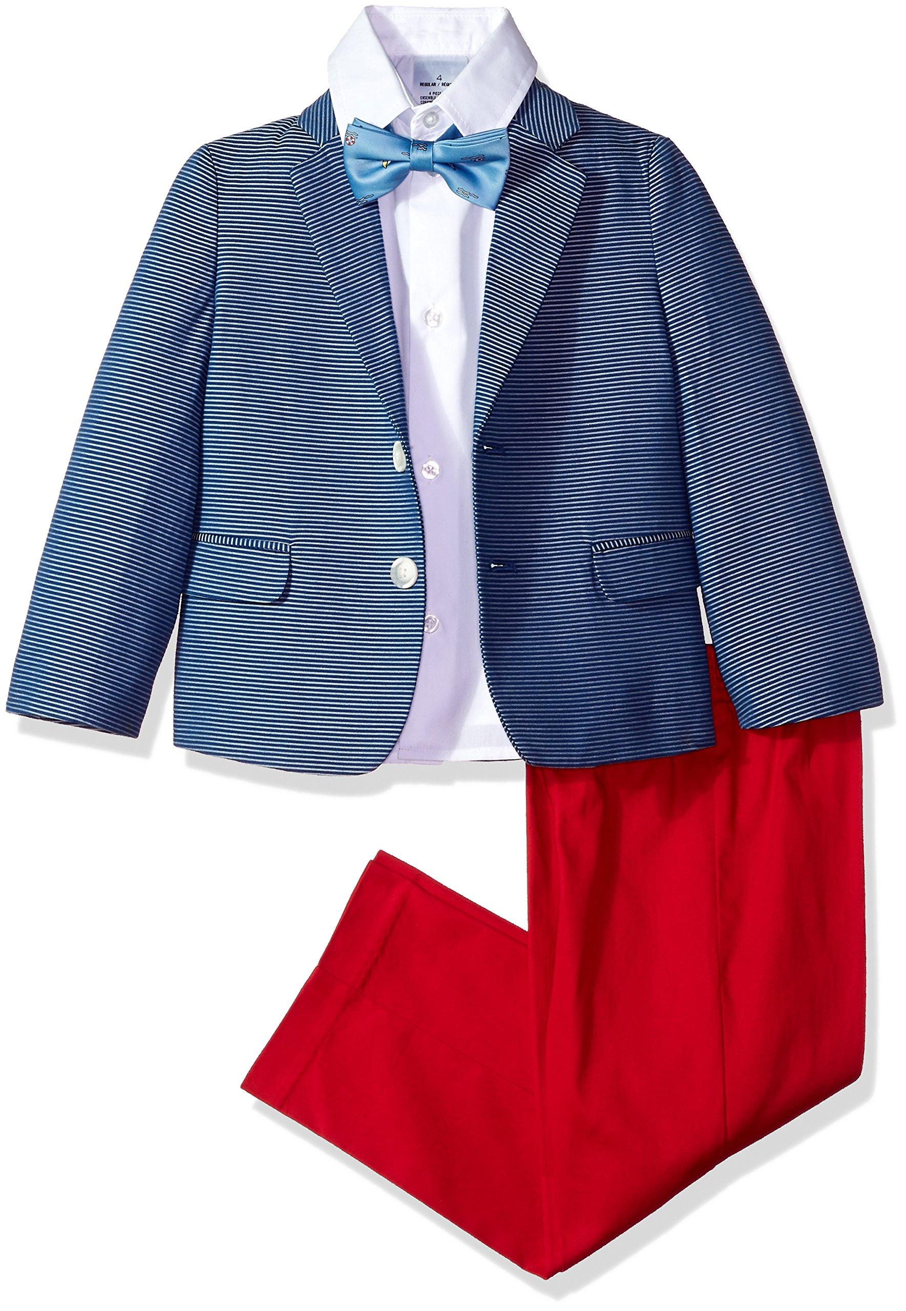 Nautica Boys' Little 4-Piece Formal Dresswear Suit Set, Horizontal Hope Diamond, 6