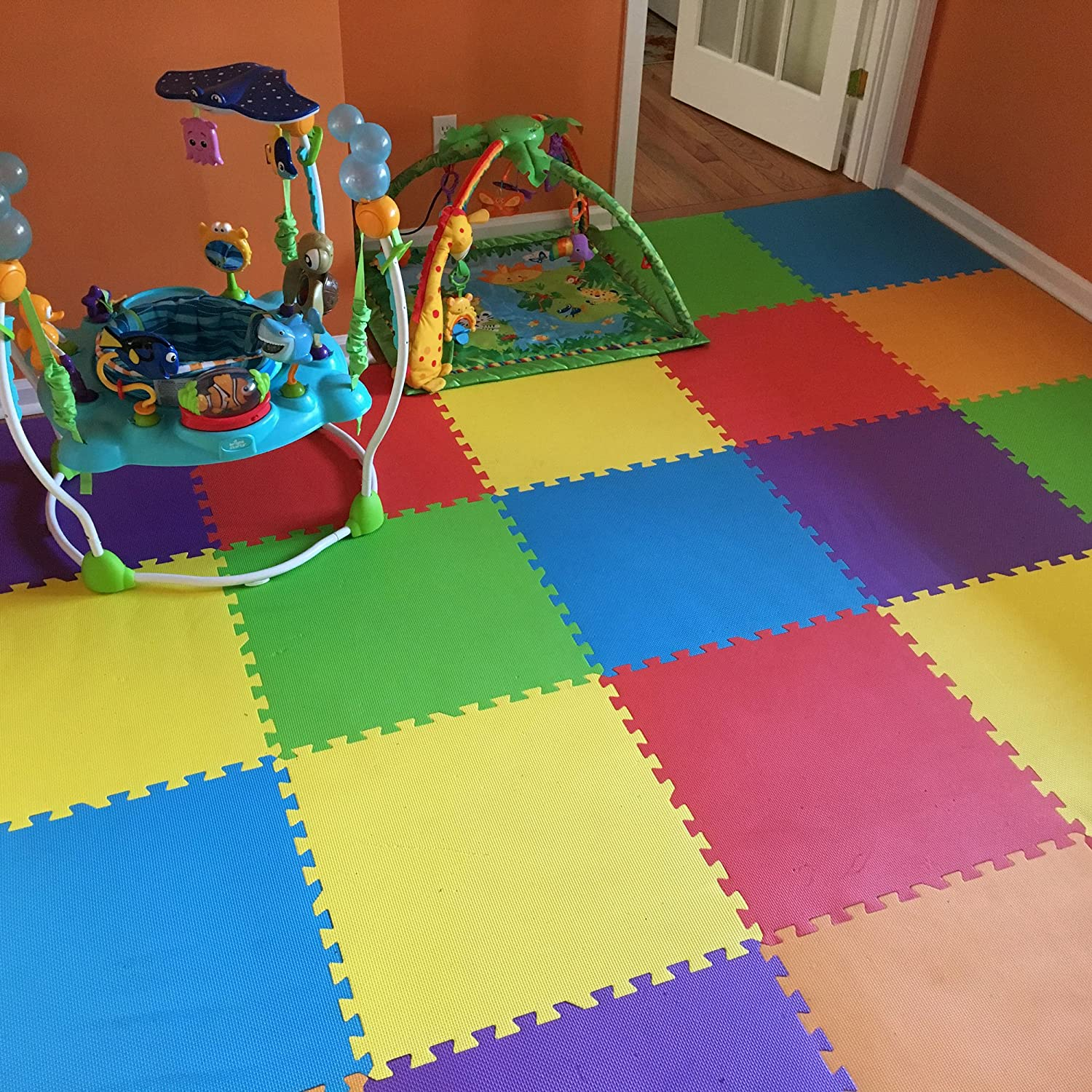 Gym floor tiles amazon image collections tile flooring design ideas amazon incstores rainbow foam tiles 6 pack 2ft x 2ft amazon incstores rainbow foam tiles 6 dailygadgetfo Image collections