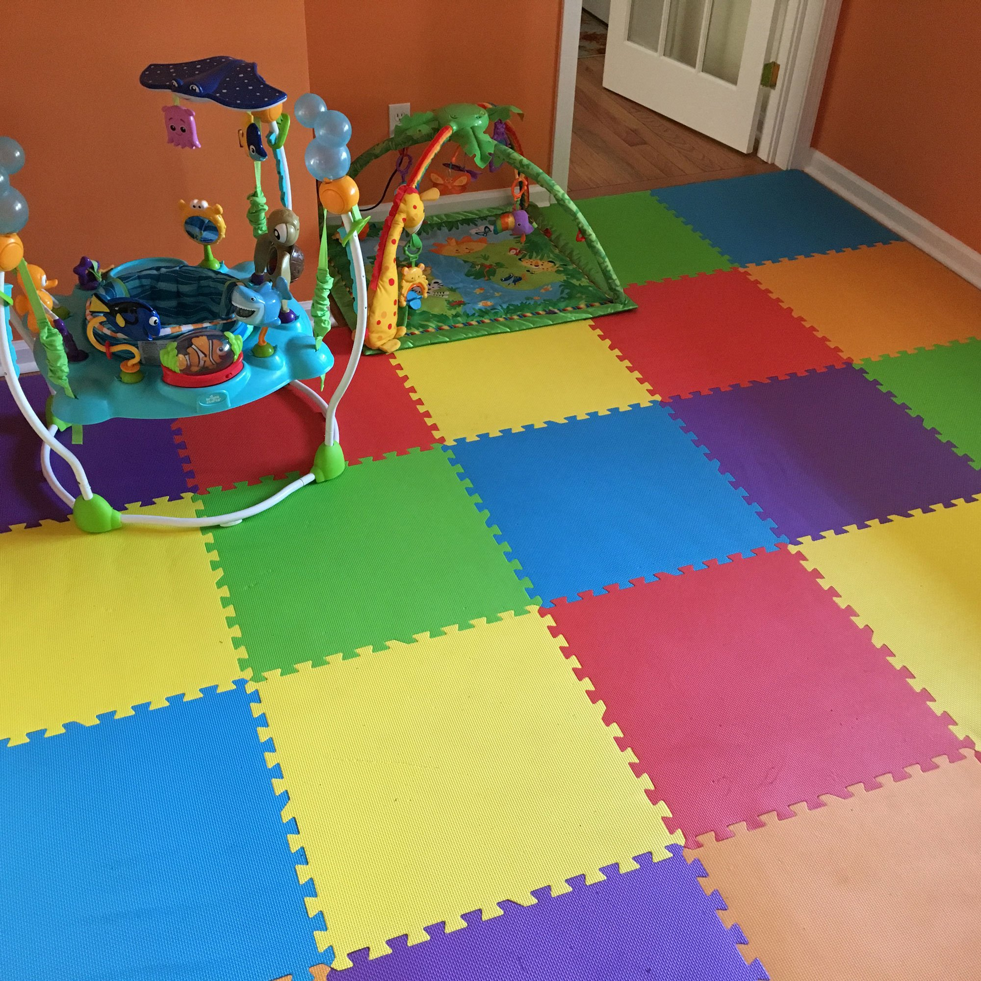 IncStores - Rainbow Foam Tiles (12 Pack) - 2ft x 2ft Interlocking Foam Children's Portable Playmats by IncStores (Image #1)
