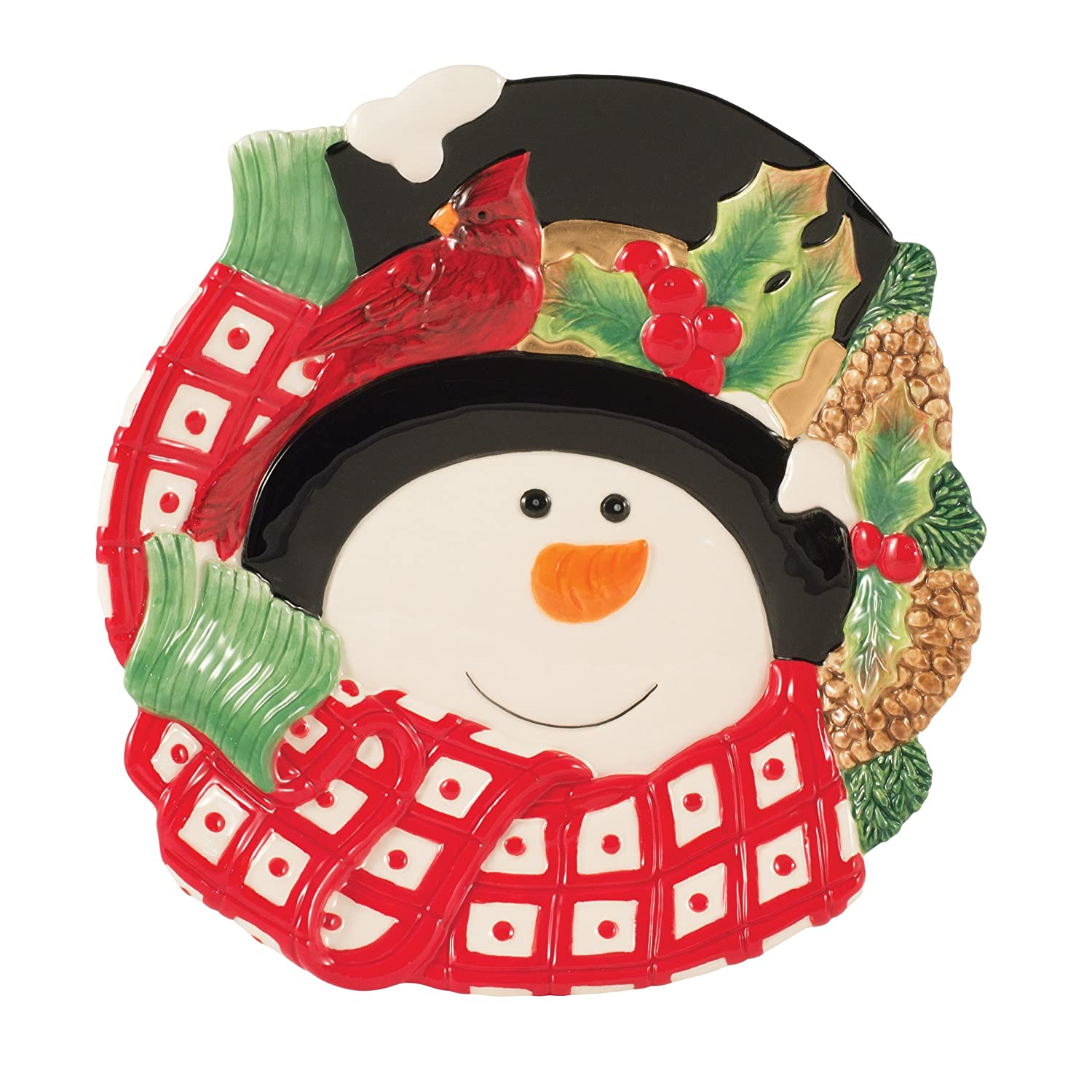 Holly Berry Snowman Collection Cookie Jar Red White by Fitz and Floyd