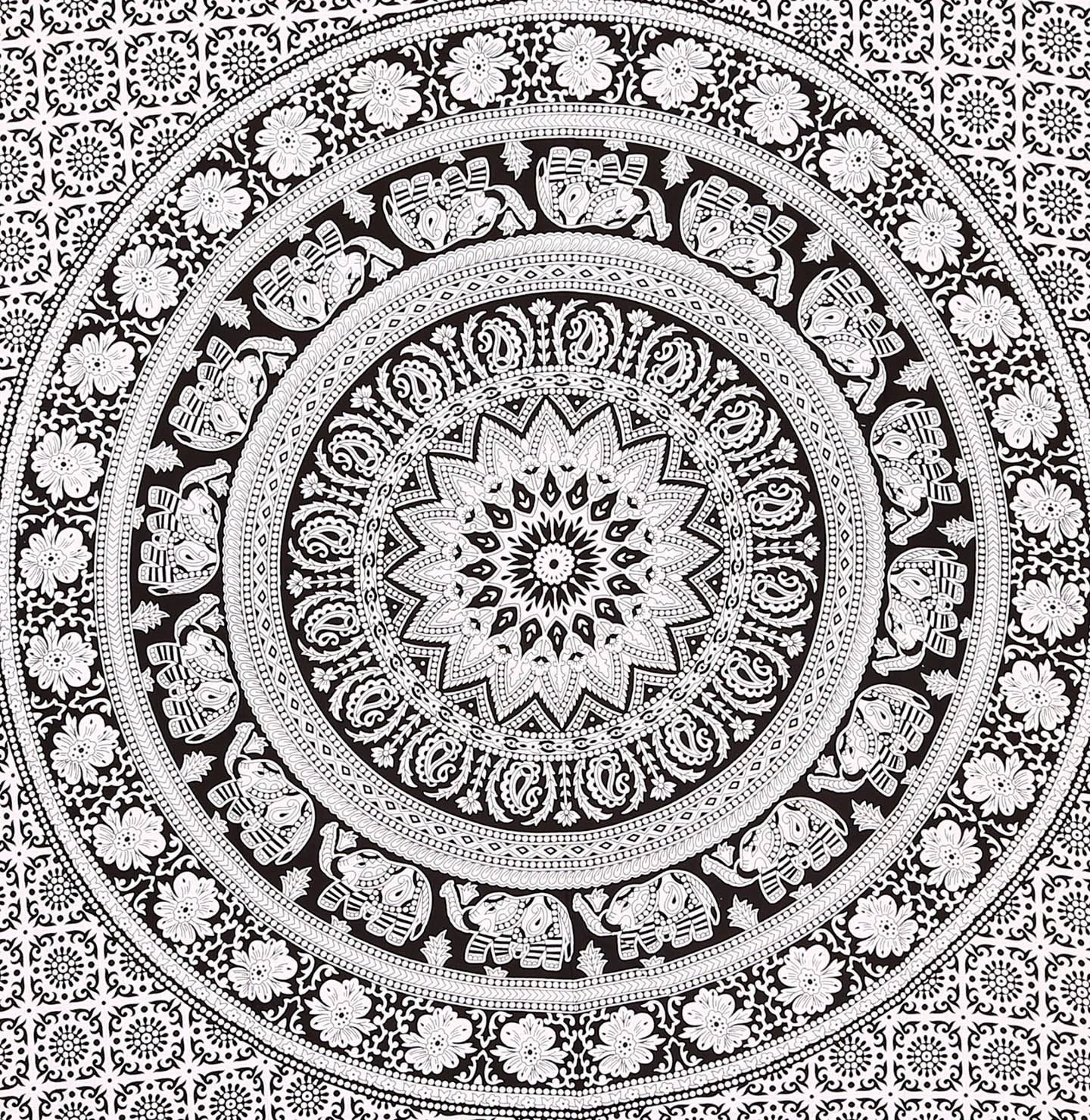 Craft N Craft India Tapestry Twin Black and White Hippie Elephant Mandala Tapestry Indian Traditional Beach Throw Wall College Dorm Bohemian Wall Hanging Boho Twin Bedspread Tapestries Black /&White