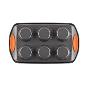 Rachael Ray 54078 Yum-o! Nonstick Bakeware Muffin Pan, Orange