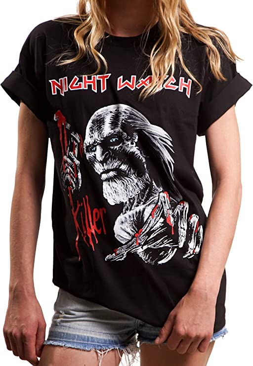 Camiseta Rock Negra Manga Corta Mujer