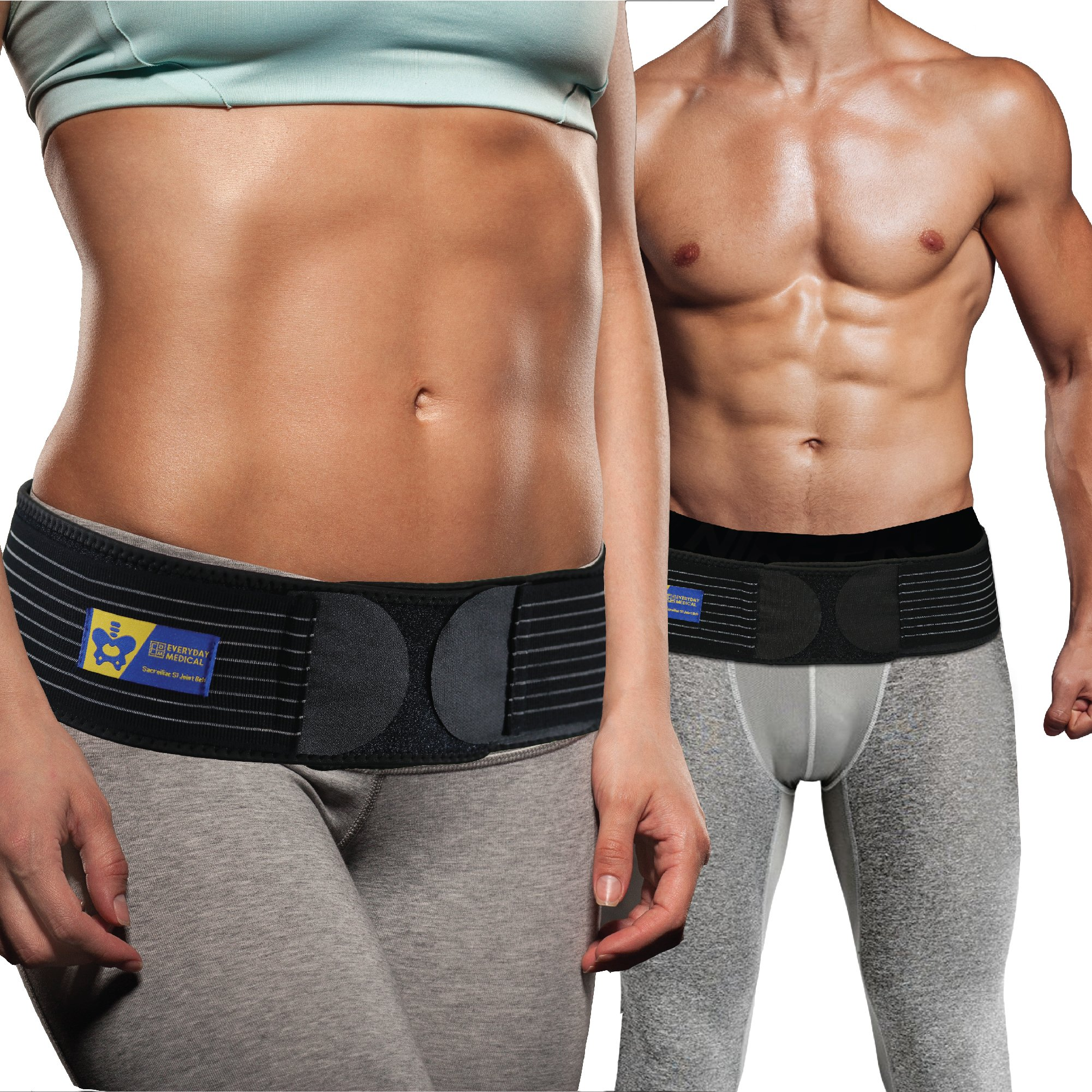 Everyday Medical Sacroiliac Belt - Breathable, Anti-Slip Si Joint Brace For Men and Women - Eases Sciatica, Hip, Pelvic, Lumbar and Leg Pain-Reduces Inflammation by Stabilizing SI Joint - S/M (30-42'')