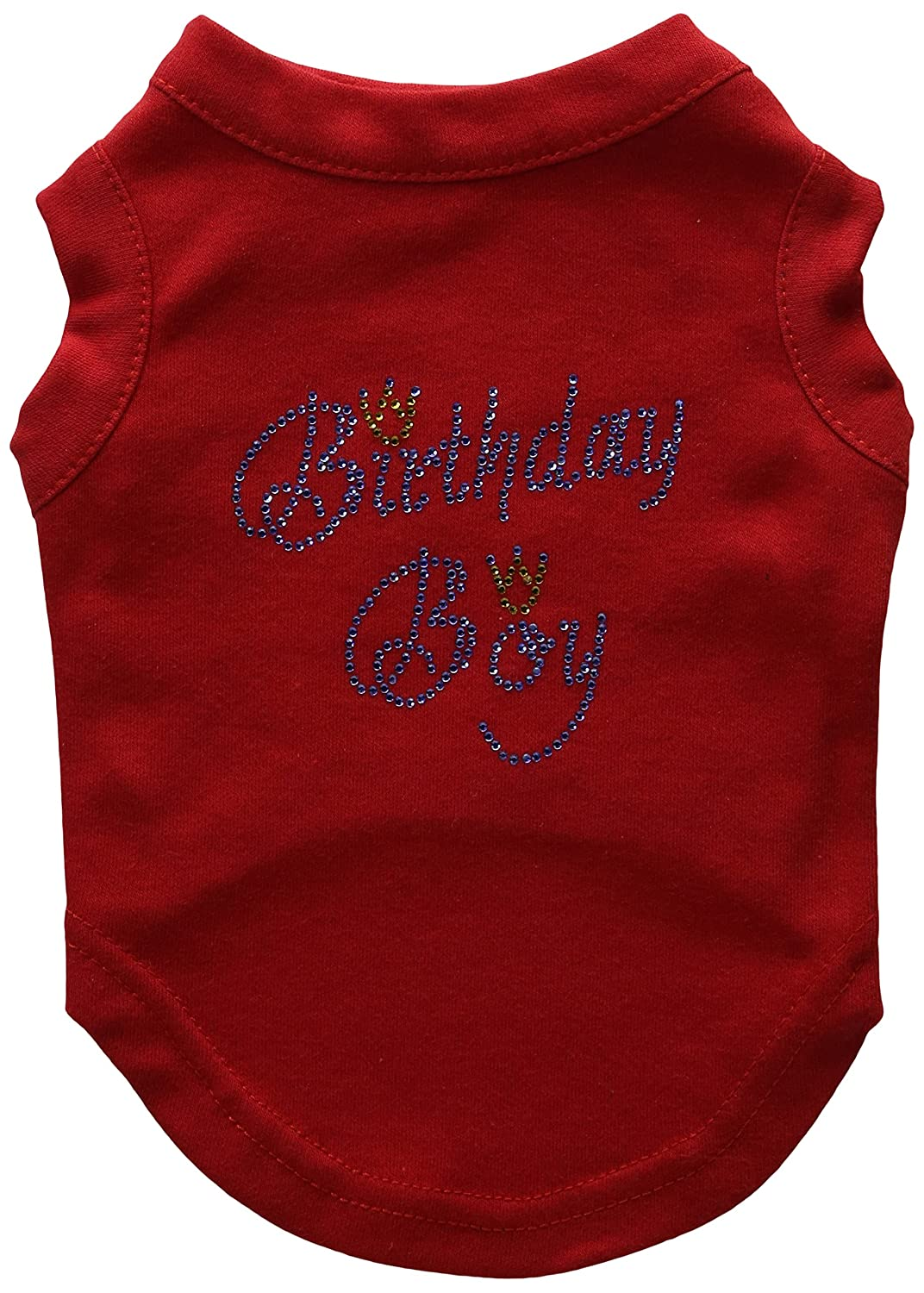 Mirage Pet Products 10-Inch Birthday Boy Rhinestone Print Shirt for Pets, Small, Red