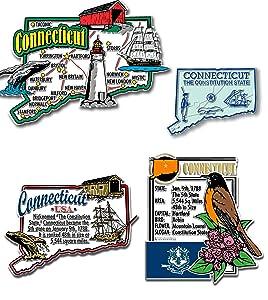 Connecticut Four-Piece State Magnet Set