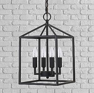 Cerdeco 37940BK Vintage Foyer Lantern, 4-Light Pendant Light, Matte Black [UL Listed]