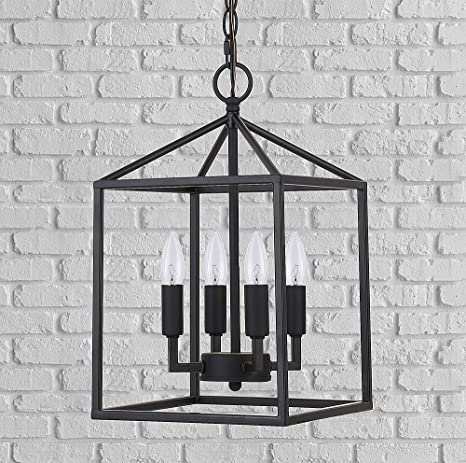 Cerdeco 37940 Bk Vintage Foyer Lantern, 4 Light Pendant Light, Matte Black [Ul Listed] by Cerdeco