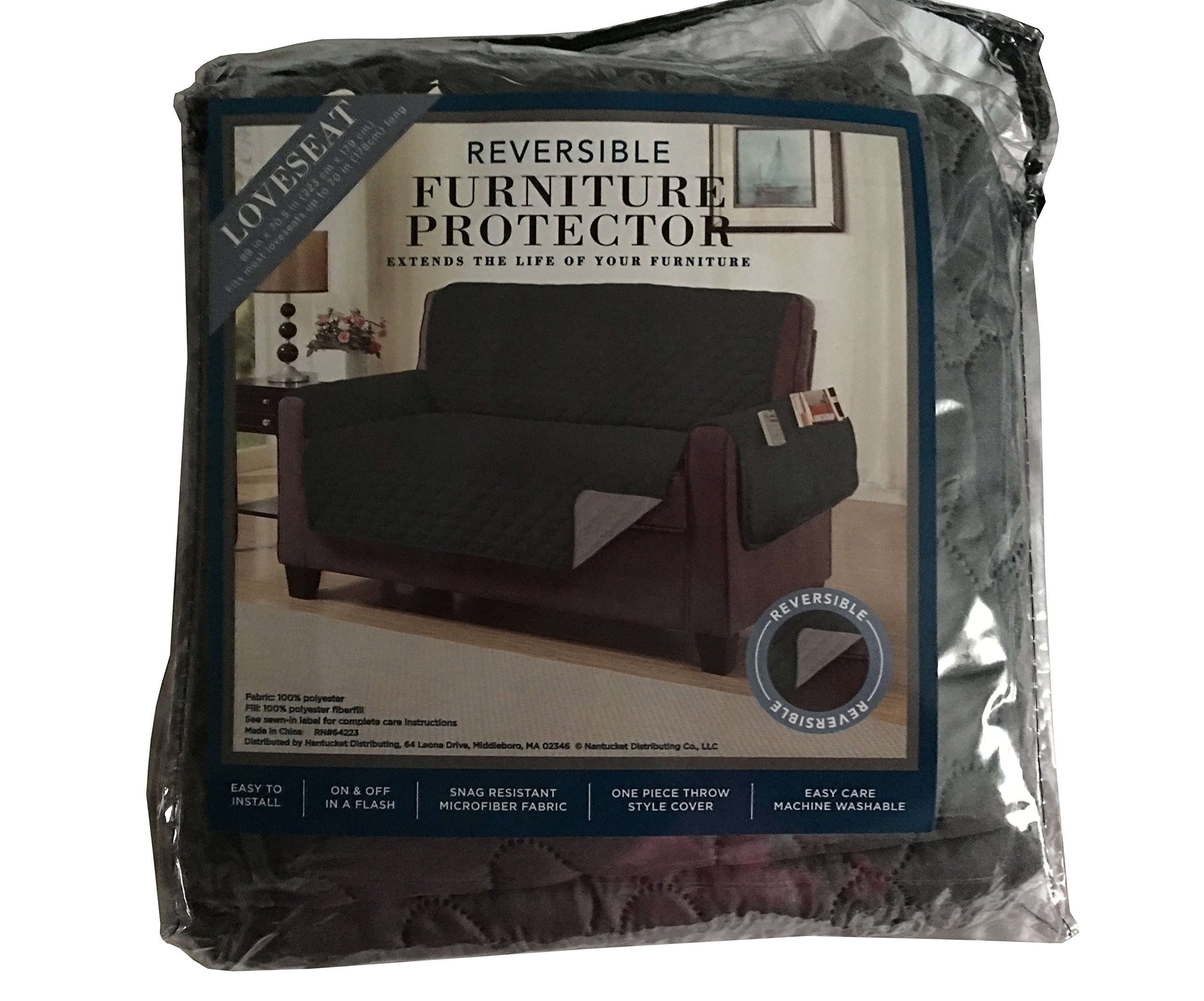 Loveseat Reversible Furniture Protector Olive/Gray
