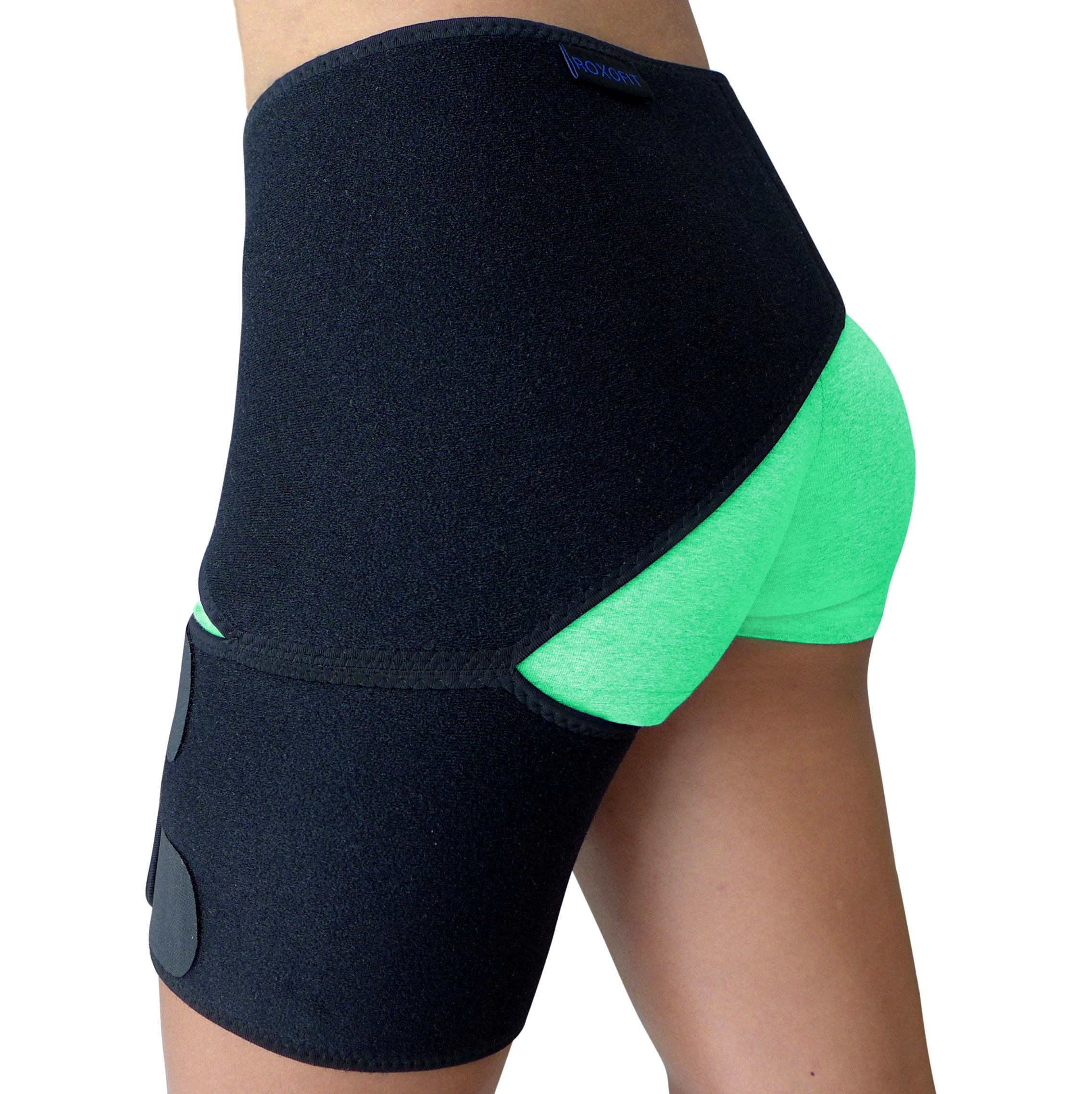 Groin Support - Hip Brace for Sciatica Pain Relief, Thigh, Hamstring, Quadriceps, Hip Arthritis. Compression Groin Wrap for Pulled Muscles, Hip Joint Pain. Sciatica brace / SI belt for Men, Women by Roxofit