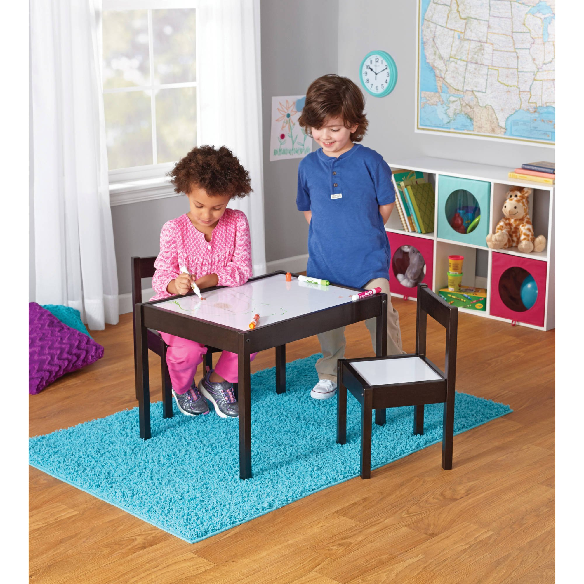Children's Table and Chairs, Dry-erase table top 3-Piece Espresso