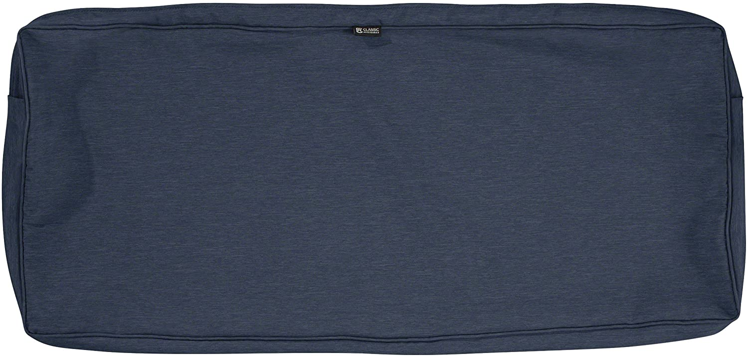 Classic Accessories Montlake Water-Resistant 48 x 18 x 3 Inch Patio Bench/Settee Cushion Slip Cover, Heather Indigo Blue