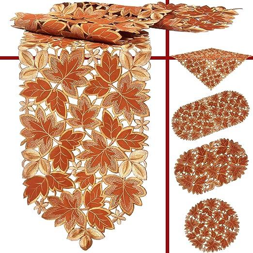 quinnyshop Otoño, cosecha, camino de mesa bordado de hojas de ...