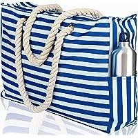 SHYLERO Beach Bag XXL. Waterproof (IP64). L22 xH15 xW6 w Cotton Rope Handles, Top Zipper, Outside Pockets. Beach Tote Includes Waterproof Phone Case, Built-in Key Holder, Bottle Opener