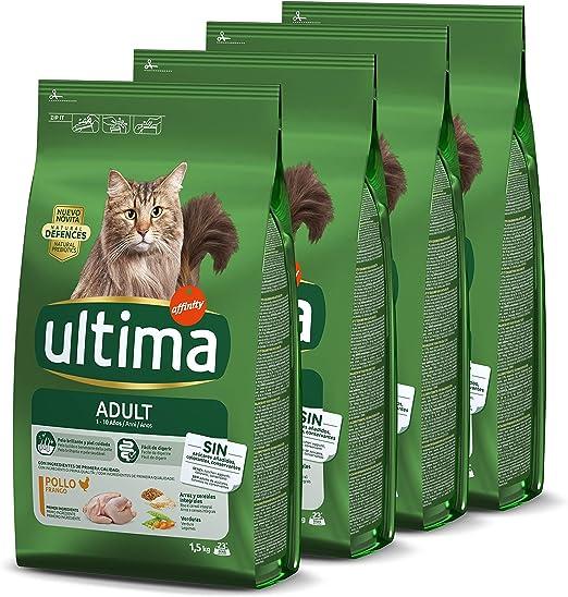 ultima Pienso para Gatos Adultos con Pollo - Pack de 4 x 1.5 kg ...