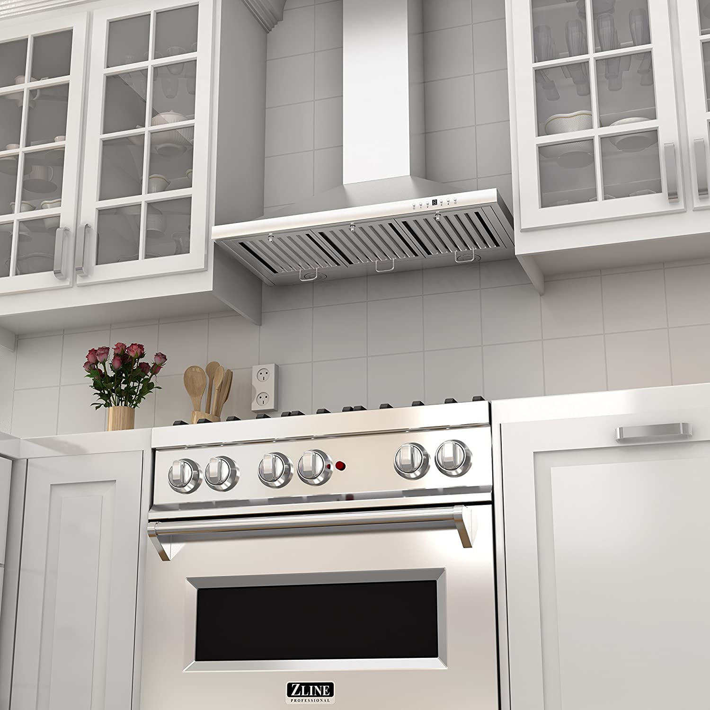 amazoncom z line kb36 stainless steel wall mount range hood 36inch appliances