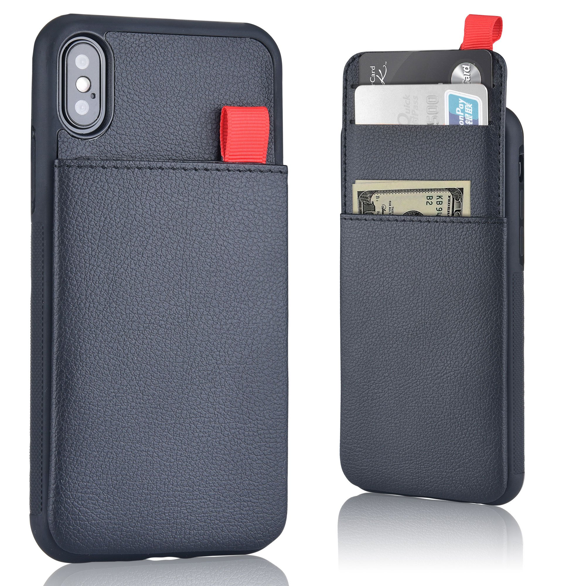 MANGATA Triton Leather Wallet case Compatible iPhone X | Slide Out Hidden Wallet Pocket, Rugged Shell | Cruelty Free Leather | Credit Card Holder, Cash Pocket, Men Women, Screen Protector (Black)