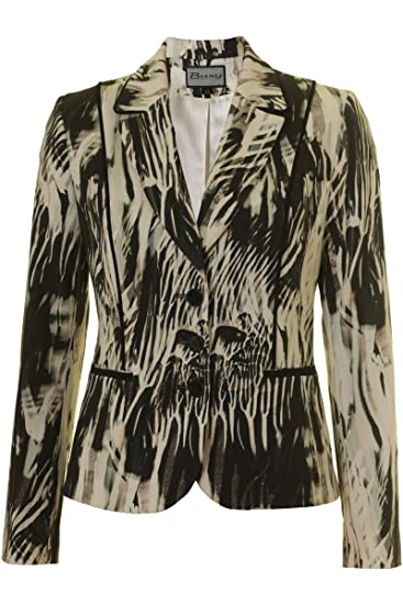 66032d0068abf Busy Clothing Womens Pattern Jacket White and Black: Amazon.co.uk: Clothing