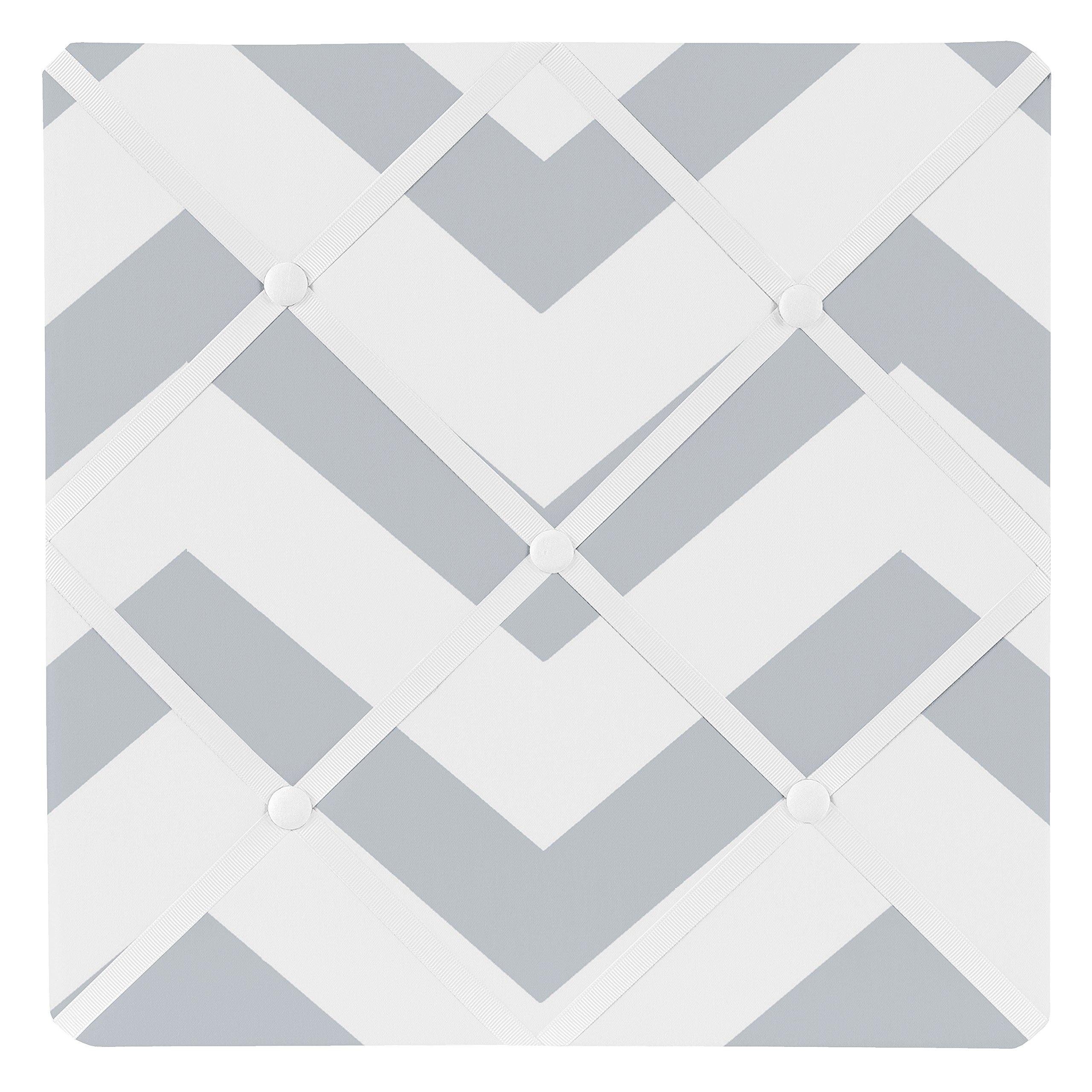 Sweet Jojo Designs Gray and White Chevron Zig Zag Fabric Memory/Memo Photo Bulletin Board