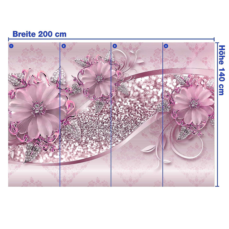 Wandmotiv24 Fototapete Blaumen Glitzer Gold Diamanten Blüte blau Goldene Blüten Blüten Blüten Ornamente M3787 XXL 400 x 280 cm - 8 Teile Wandbild - Motivtapete B07NKVXZ2D Wandtattoos & Wandbilder c76868