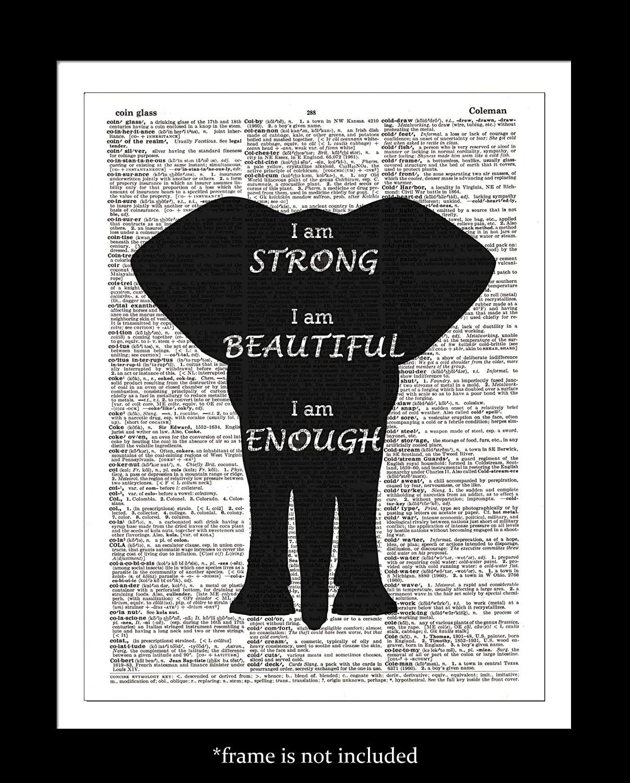 Amazon Com Black Elephant Dictionary Art Print Inspirational Quotes Upcycled Vintage Wall Decor Dictionary Page Art Unframed Handmade