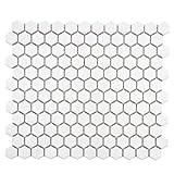 "SomerTile FXLMHW Retro Hexagon Porcelain Floor and Wall Tile, 10.25"" x 11.75"", White"