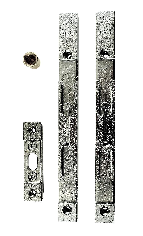 GU Secury Tü rkantriegel Komplett Set 20mm (2 Riegel + Schließ blech + Bodenhü lse) Türkantriegel