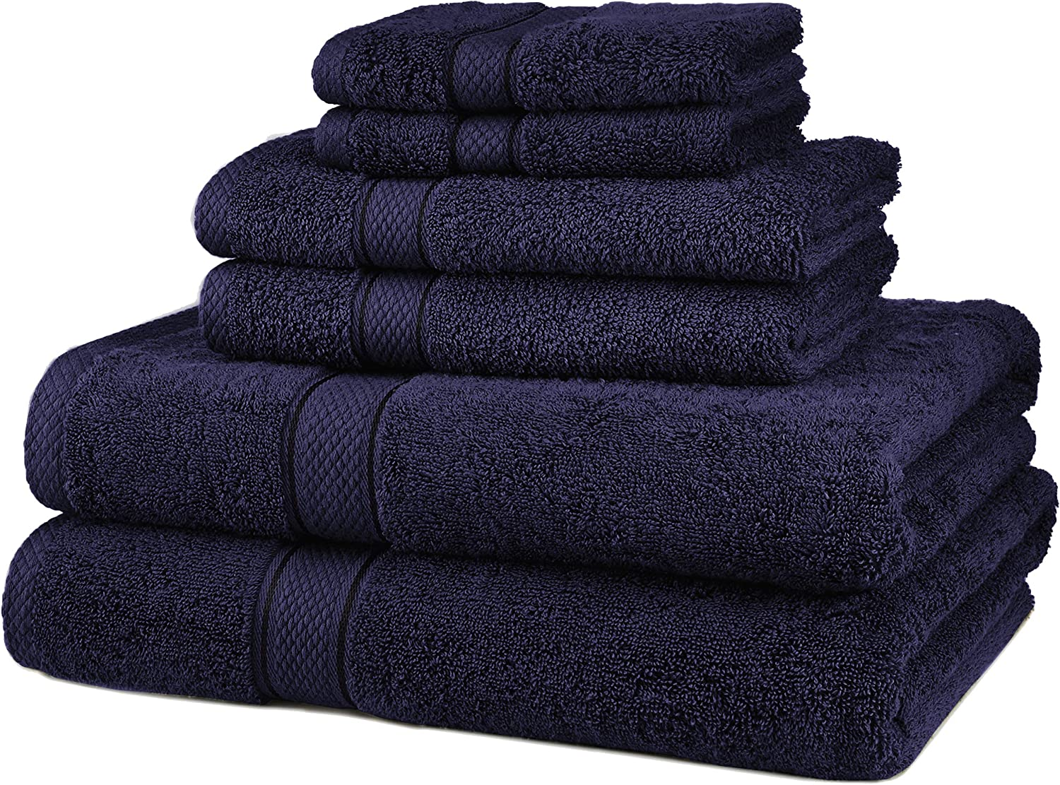 Pinzon 6 Piece Blended Egyptian Cotton Bath Towel Set - Navy: Home & Kitchen