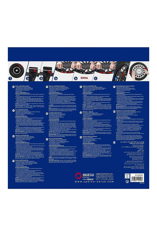 SPARCO SPC1596SVBK Roma Lot de 4 enjoliveurs Bicolores argent/és et Noirs 15