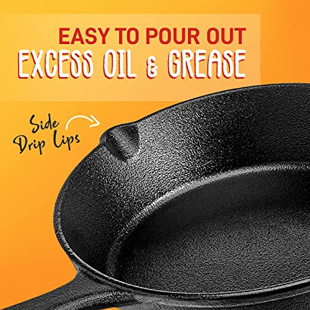 Amazon Com Nutrichef Pre Seasoned Cast Iron Skillet 3 Pieces Kitchen Frying Pan Nonstick Cookware Set W Drip Spout Silicone Handle For Electric Stovetop Glass Ceramic Kitchen Dining