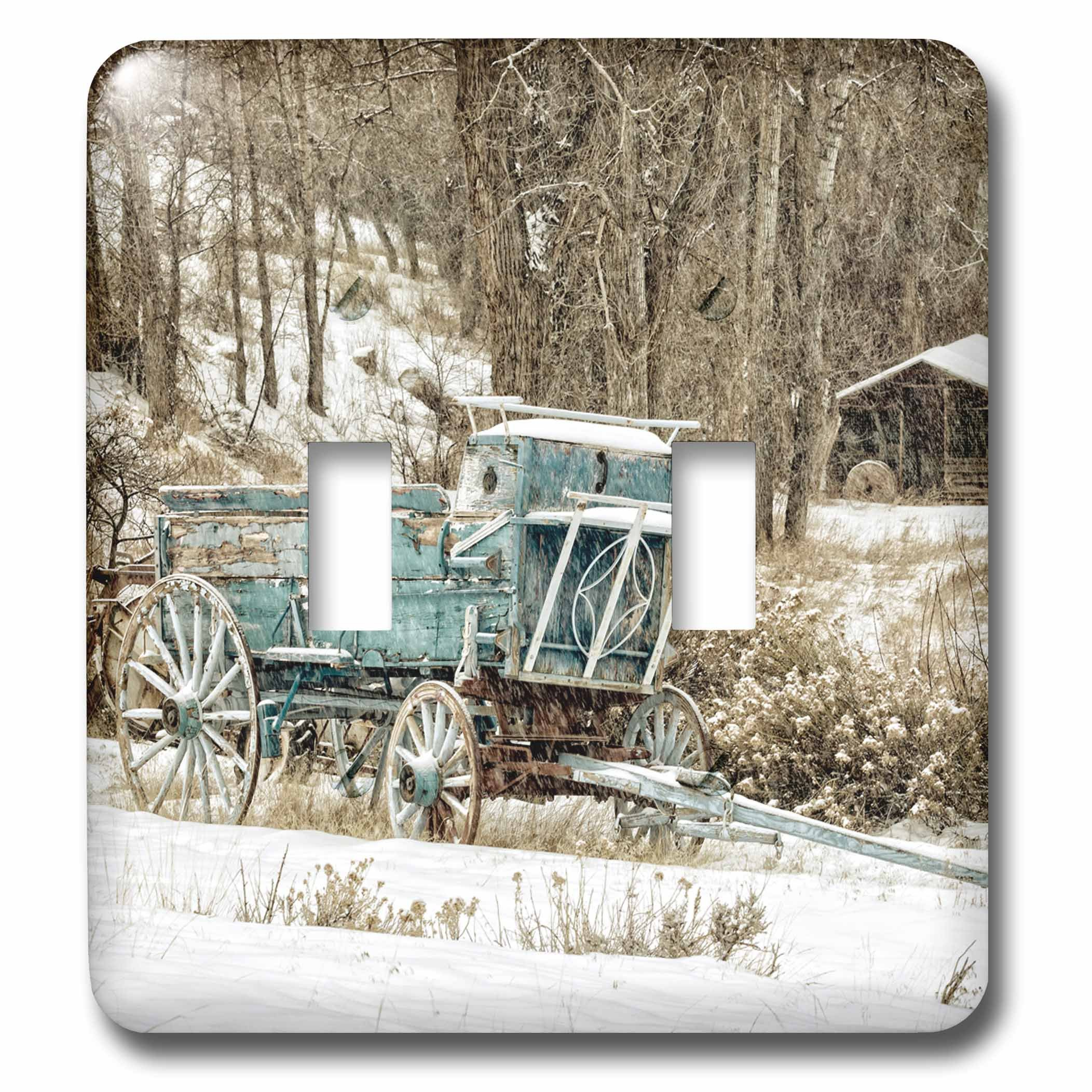 3dRose Danita Delimont - Western - USA, Wyoming, Shell, Blue Wagon in Snow - Light Switch Covers - double toggle switch (lsp_279819_2)