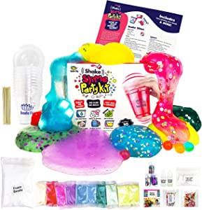 No Glue. Shake Slime Kit for Girls and Boys for 10 Kinds of Shaker Slime. No Mess. Just Add Water, Mix, and Shake. Includes Fun Toppings and Take-Home Storage Cups
