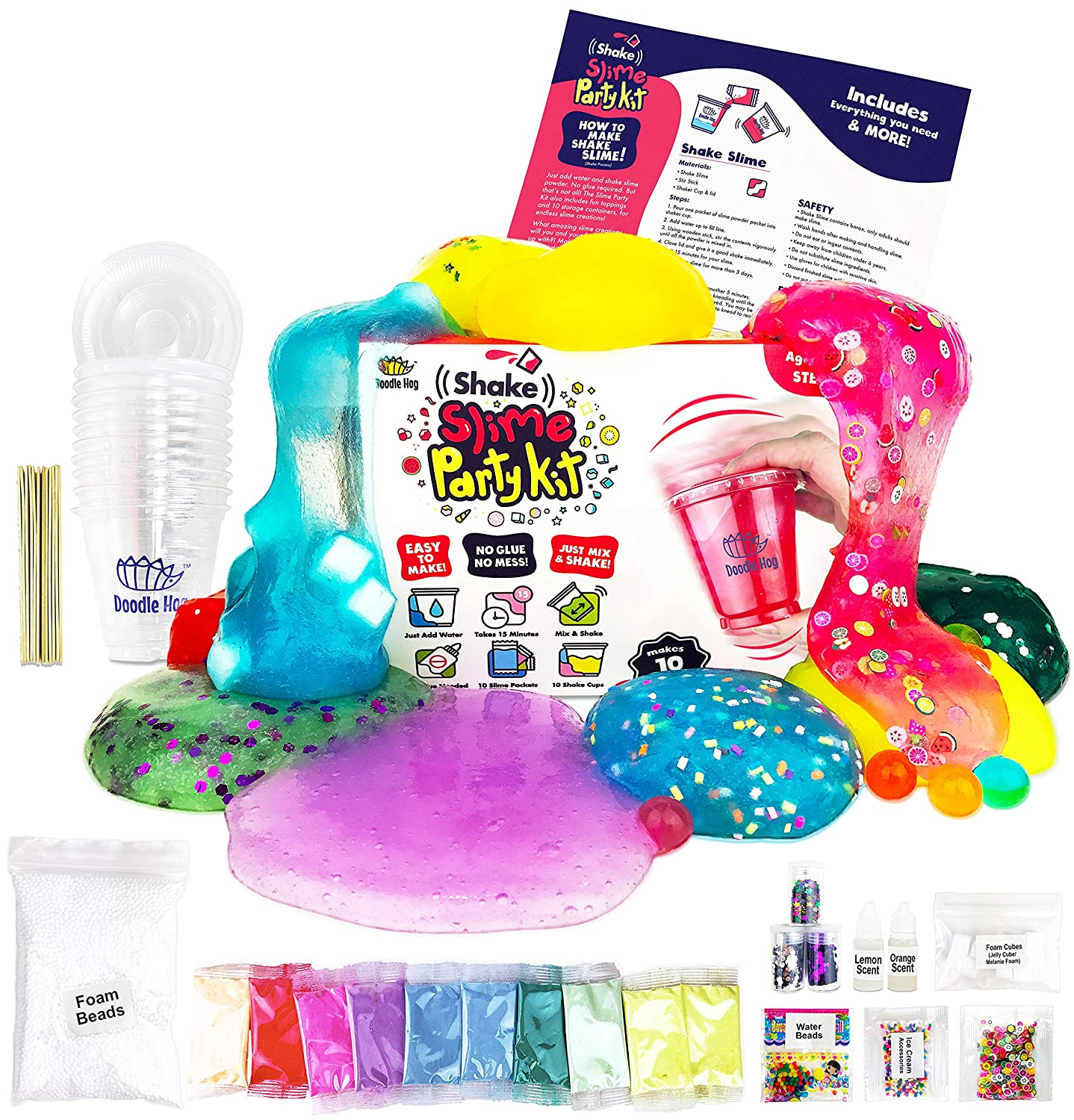 No Glue  Shake Slime Kit for Girls and Boys for 10 Kinds of Shaker Slime   No Mess  Just Add Water, Mix, and Shake  Includes Fun Toppings and  Take-Home