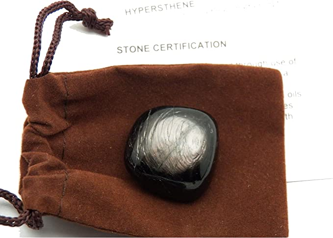 Hypersthene 3 Small Tumbles in a Pouch with Info Cards