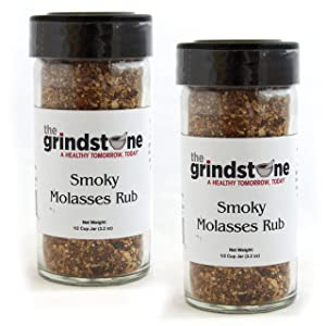 The Grindstone   Smoky Molasses Rub   All American Seasonings   Non GMO   Hand Blended Spices   1/2 Cup Size   2.60 oz. Glass Bottle with Sifter   Pack of 2