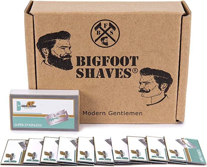Bigfoot Shaves | Double Edge Razor Blades | Super Stainless Steel | for Mild & Sensitive Skin | Men's Grooming Product | Fits Most Safety Razors | 50 Pack
