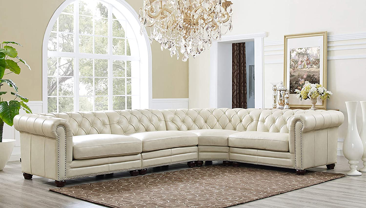 Hydeline Aliso 100% Leather Sectional Sofa