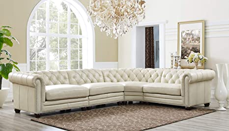 Hydeline Aliso 100% Leather Sectional Sofa, 4-Piece, Ivory