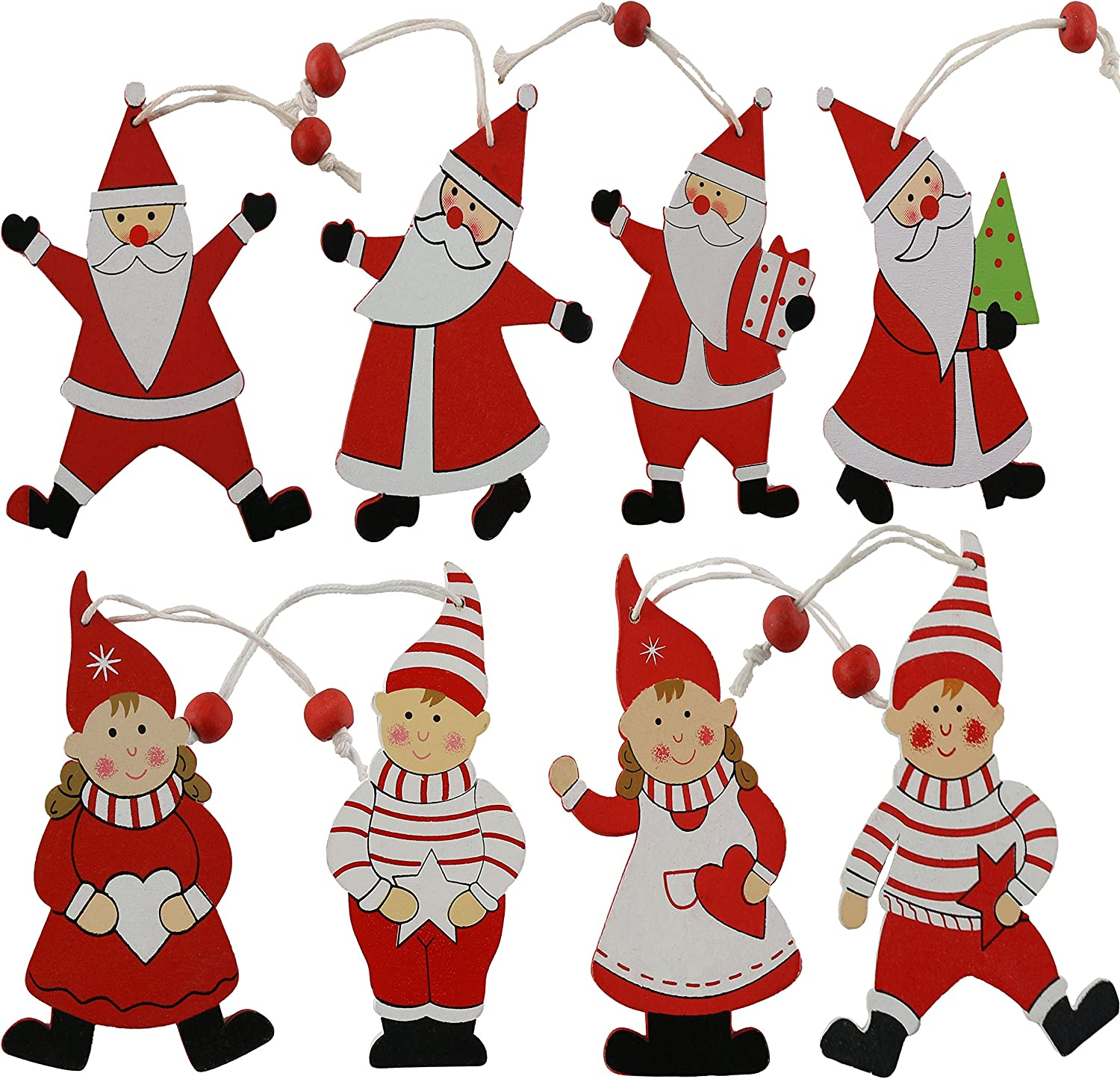 Bstaofy Wewill 4-Inch Wooden Christmas Ornaments Santa ans Elf Tree Hanging Decoration 8PCS
