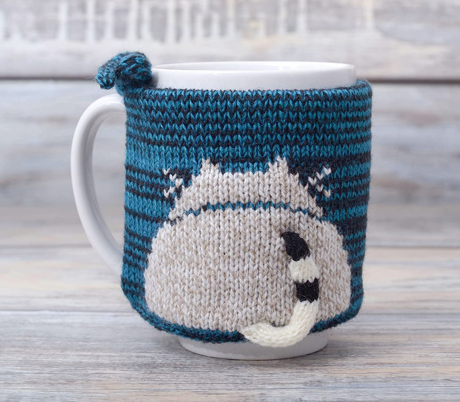Coffee Mug Cozy with Cat Butt Tea Cup Teacup Sweater Cosy Warmer Knit Gift Kitty Sleeve Kitten