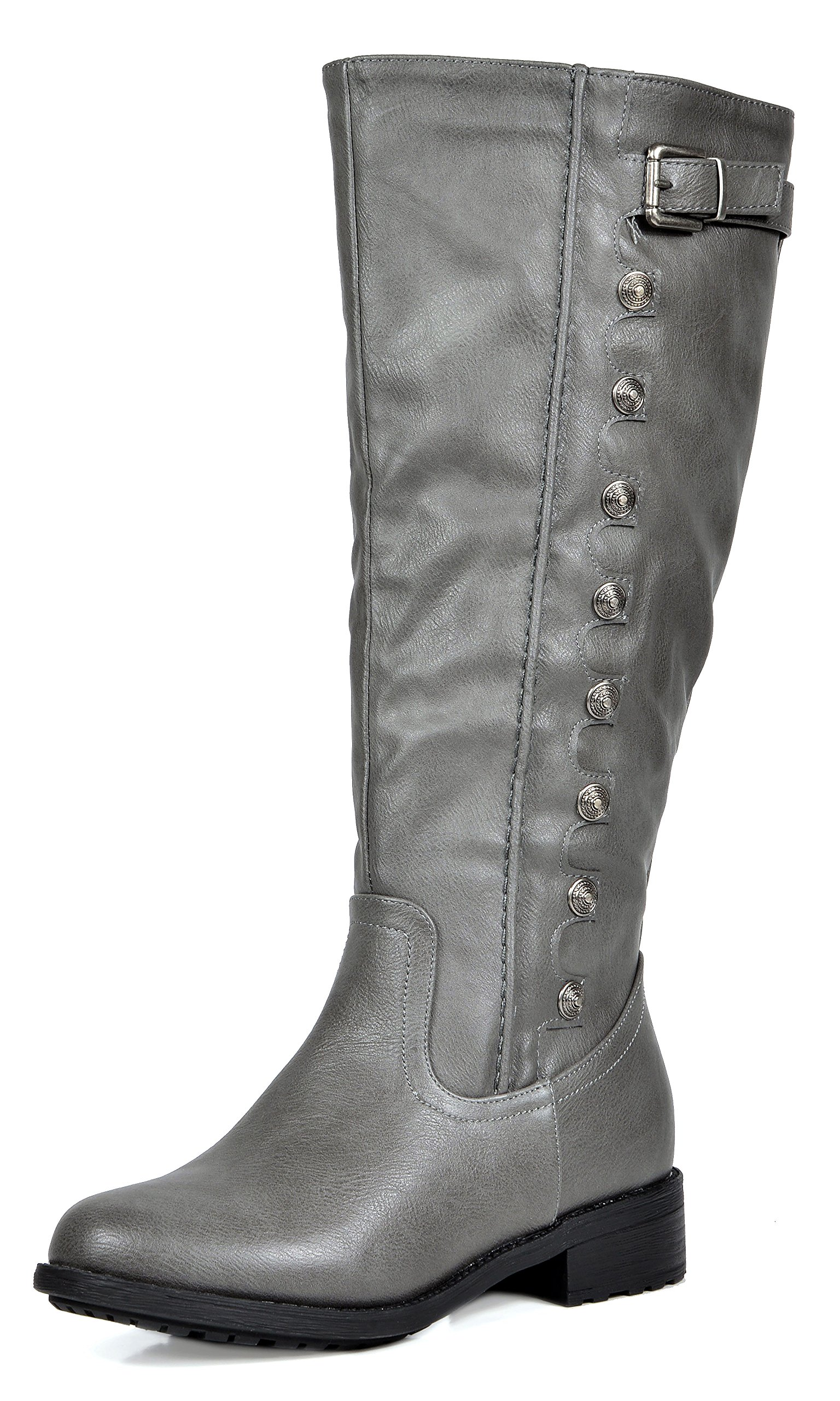 DREAM PAIRS Women's Army Grey Pu Leather Knee High Winter Riding Boots Size 8.5 M US