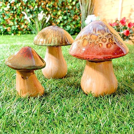 3 adornos de cerámica para el jardín con forma de seta, perfectos para usar en exteriores o en interiores: Amazon.es: Jardín