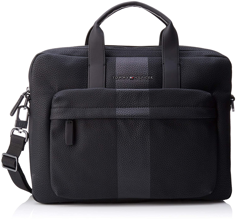 Tommy Hilfiger Block Stripe Computer Bag, Men's Laptop Black