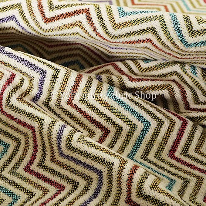 Nuevo colorido candy Chevron rayas textura Chenille tela de ...